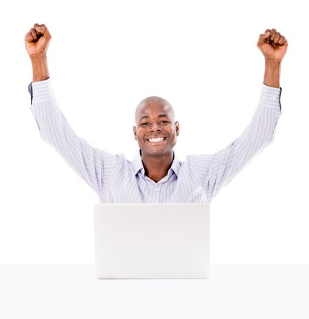 Business man happy with his online success - isolated over white