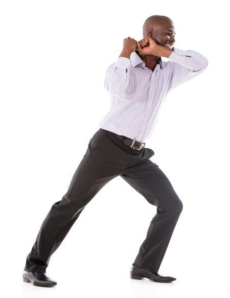 Business man pulling something imaginary - isolated over white background