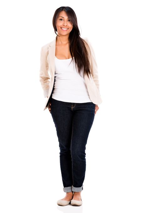 Relaxed casual woman smiling - isolated over a white background