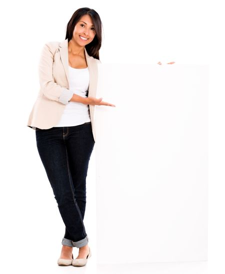 Casual woman displaying a banner - isolated over a white background
