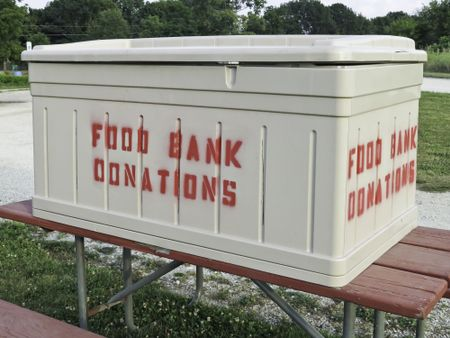 Donation box at large community garden