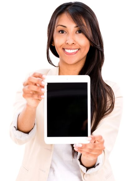 Happy woman with a tablet computer - isolated over a white background