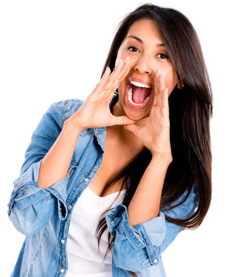 Casual woman screaming - isolated over a white background