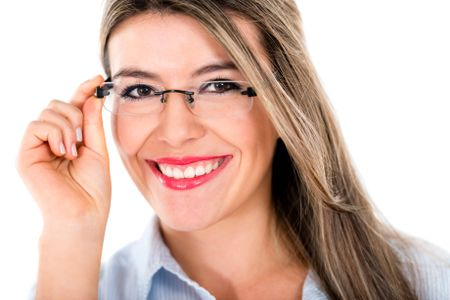 Happy woman wearing glasses - isolated over a white background
