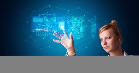 Woman accessing modern hologram personal database with fingerprint identification