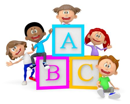 3D group of school children with ABC cubes - isolated over white