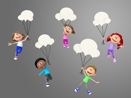 3D talkative kids hanging from chat bubbles