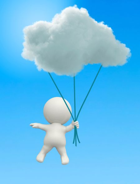 3D man hanging from a cloud in the blue sky