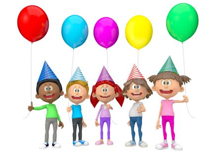 3D group of party kids celebrating a birthday - isolated over white