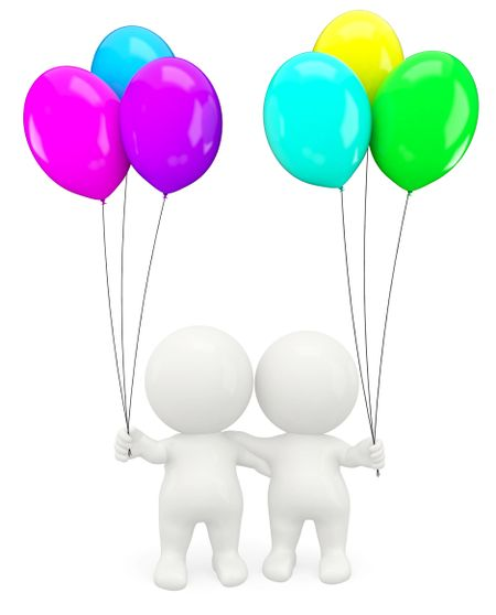 3D romantic couple holding balloons - isolated over a white background