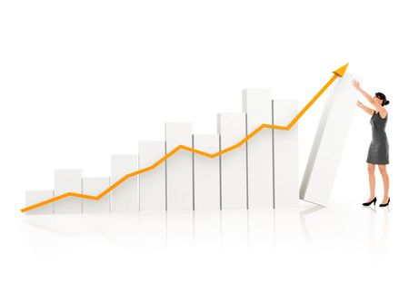 Business woman with a 3D growth graph- isolated over white
