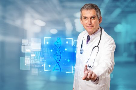 Doctor touching virtual screen with biology and genetic concept