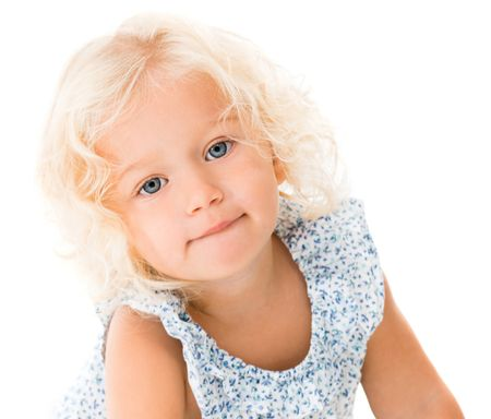 Beautiful blond little girl - isolated over a white background