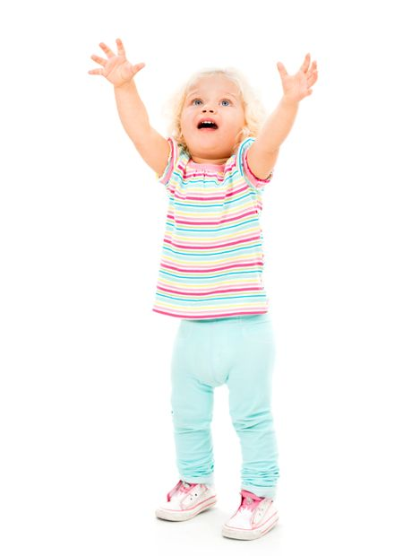 Crying little girl with arms up - isolated over a white background