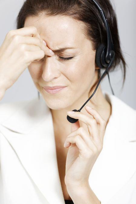 Call center lady expressing concern and worry