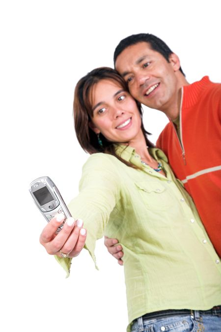 casual couple taking a photo of themselves with a mobile phone