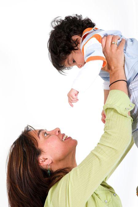 happy mum and her child over white