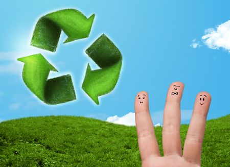 Happy cheerful smile fingers looking at green leaf recycle sign