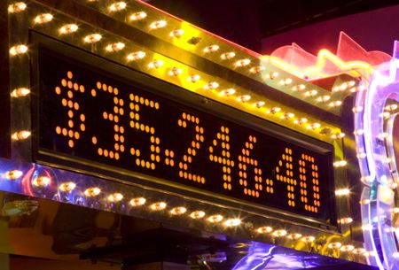 electronic board announcing the big price in a casino