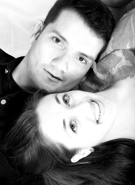 beautiful couple portrait in black and white 2