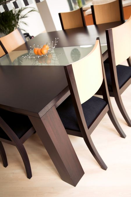 modern dining table in an stylish house