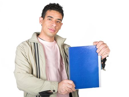 casual student displaying notebook over a pure white background