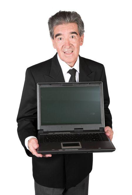 senior businessman with laptop over white