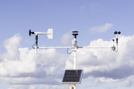 Instruments for climate analysis: Solar-powered weather station at Fort Caroline National Memorial along the St. Johns River in Jacksonville, Florida, USA
