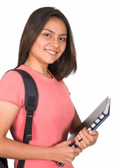 beautiful latin american student over white