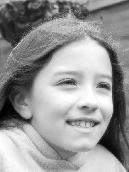 Little girl black and white portrait