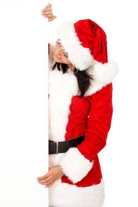 female santa holding a christmas white card