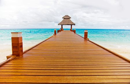 beach deck with a hut at the end of the wooden path