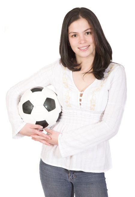 beautiful female footballer over white