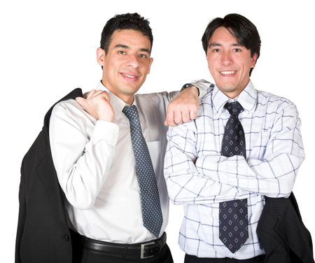 business partners over white