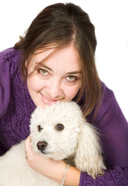 Casual Female Portrait with her dog over white