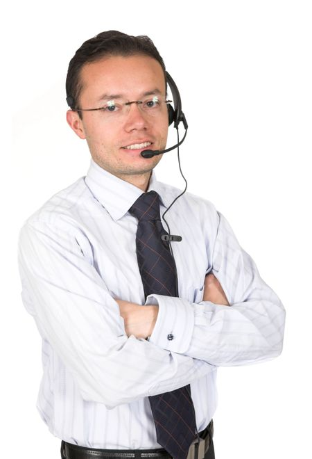 business customer service man over white