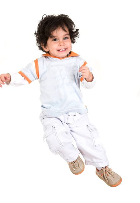 child in the air over white