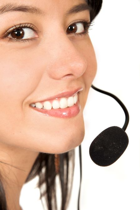Beautiful Customer Support Girl over white - focus on mouth