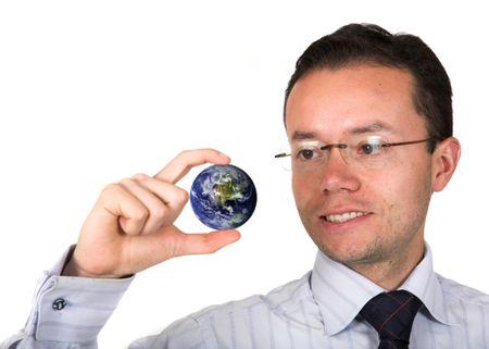 business man holding globe over white - globe from www.nasa.org - focus on face
