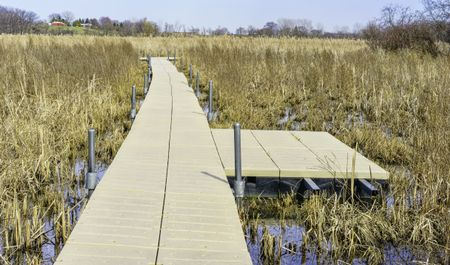 Wetland walkway for nature lovers: Floating boardwalk across prairie marsh in springtime, Moraine Hills State Park in Lake County, Illinois, USA