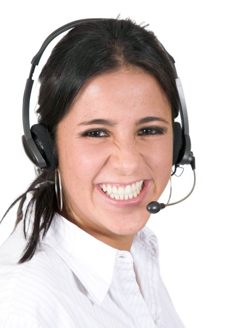 Beautiful Customer Support Girl over white
