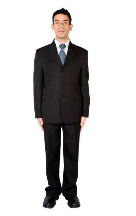 business man standing very still over white
