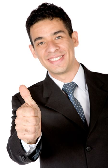 business man - thumbs up over white background