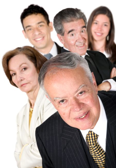 business man with his team behind him over white