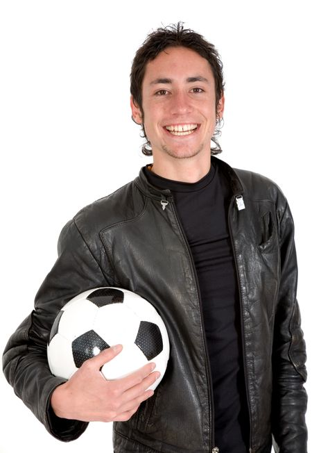 casual guy with a soccer ball over white
