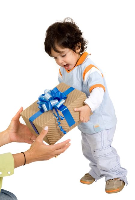 child receiving a gift over white