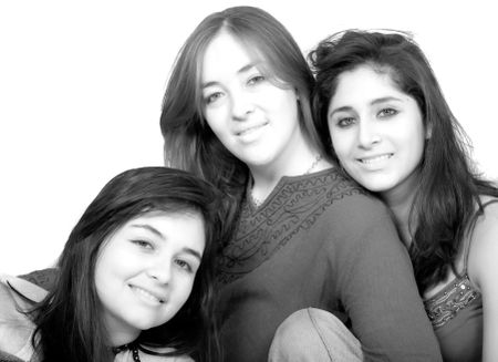 beautiful female friends portrait in black and white