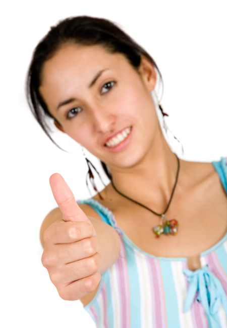 girl thumbs up over a white background