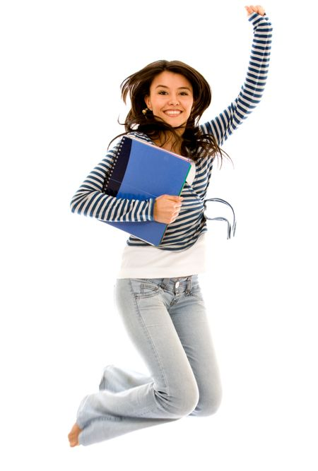 college student jumping of success isolated over a white background