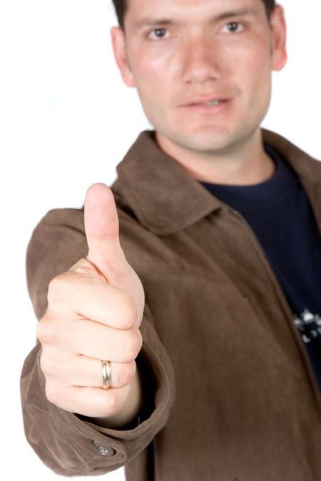 casual positive guy with his thumb up over white